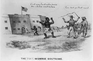 "Slaves escape to the fort after Gen. Butler's decree that all slaves behind Union lines would be protected. The policy was called the ""Fort Monroe Doctrine"", alluding to Butler's headquarters at the Fort."