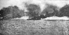 Beatty's flagship HMS Lion burning after being hit by a salvo from SMS Lützow