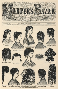 Cover of Volume I, No. 49 of Harper's Bazar (now Harper's Bazaar), showing hairstyles (1868)