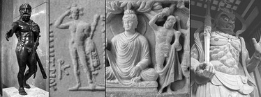 Iconographical evolution from the Greek god Heracles to the Japanese god Shukongōshin. From left to right: 1) Heracles (Louvre Museum). 2) Heracles on coin of Greco-Bactrian king Demetrius I. 3) Vajrapani, the protector of the Buddha, depicted as Heracles in the Greco-Buddhist art of Gandhara. 4) Shukongōshin, manifestation of Vajrapani, as protector deity of Buddhist temples in Japan.