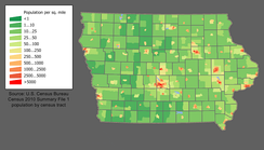 Iowa population density map
