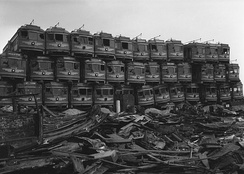 Pacific Electric cars are piled up awaiting destruction at Terminal Island, 1956
