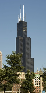 The Willis Tower in Chicago showing the bundled tube frame design