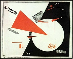 Beat the Whites with the Red Wedge, a famous pro-Bolshevik Constructivist propaganda poster by artist El Lissitsky uses abstract symbolism to depict the defeat of the Whites by the Red Army.