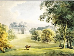 """Lindridge"", watercolour by Rev. John Swete dated July 1795. View of west front. Devon Record Office DRO 564M/F8/133"