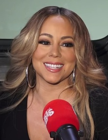 Mariah Carey being interviewed in 2018 at WBLS Radio in New York City.