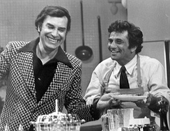 "Martin Landau and Falk in the episode ""Double Shock,"" where Landau played a dual role as twins, 1973."