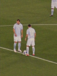 Zárate kicking off the 2009 Coppa Italia Final with Goran Pandev