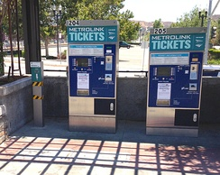 Metrolink ticket vending machines. Machines also sell tickets for Amtrak trains and the FlyAway Bus to Los Angeles International Airport.