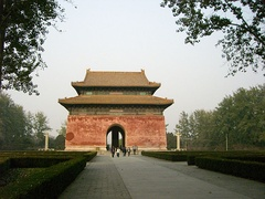 The Great Red Gate at the Ming Tombs near Beijing, China.