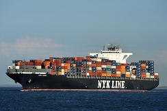An ocean containership close to Cuxhaven