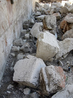 Excavated stones from the Western Wall of the Temple Mount (Jerusalem, Israel), knocked onto the street below by Roman battering rams in 70 AD