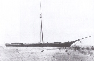 The ship O. D. Witherell aground 3½ miles (5.6 kilometers) south of Bethany Beach on April 21, 1911. Built in 1874, she had been on a voyage from New York City to Philadelphia, Pennsylvania.[59]