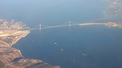 The Osman Gazi Bridge, located at the Gulf of İzmit, is the fourth-longest suspension bridge in the world by the length of its central span.[300]