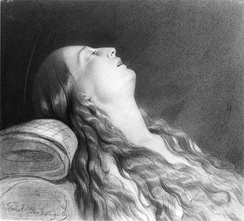 Paul Delaroche sketch of his wife Louise Vernet on her death bed