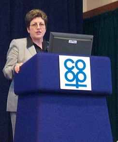 Dame Pauline Green speaking at a co-operative meeting, 2005.
