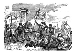 Picture showing the massacre of Perugia citizens by the papal troops, 20 June 1859