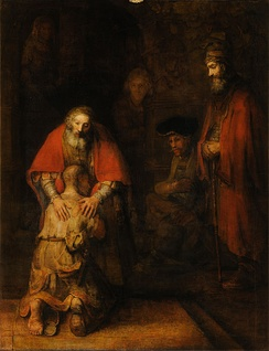 The Return of the Prodigal Son by Rembrandt, based on the Parable of the Prodigal Son illustrating forgiveness