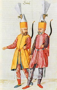 A pair of Solaks, the Janissary archer bodyguard of the Sultan