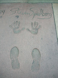 Spielberg's footprints and handprints in front of the Grauman's Chinese Theatre