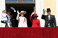 Members of the Royal House at 2007 Constitution Day celebrations with Princess Ingrid Alexandria, Crown Prince Haakon, Crown Princess Mette-Marit, Queen Sonja and King Harald V