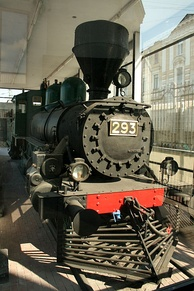 The engine that pulled the train on which Lenin arrived at Petrograd's Finland Station in April 1917 was not preserved. So Engine #293, by which Lenin escaped to Finland and then returned to Russia later in the year, serves as the permanent exhibit, installed at a platform on the station.[130]