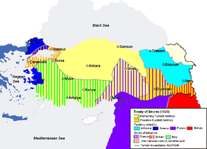 Borders of Turkey according to the Treaty of Sèvres (1920) which was annulled and replaced by the Treaty of Lausanne (1923) in the aftermath of the Turkish War of Independence led by Mustafa Kemal Atatürk.