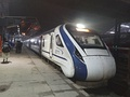 An Indian Railways Vande Bharat Express train capable of up to 180 km/h (112 mph) at Shri Mata Vaishno Devi Katra railway station, Jammu and Kashmir, India. (EMU India)