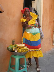 African Colombian fruit seller in Cartagena, Colombia.