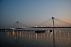 Vidyasagar Setu over the  Hooghly River at dusk