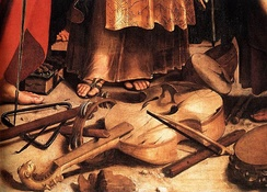 Early Italian tenor viola da gamba, detail from the painting St. Cecilia, by Raphael, c. 1510.