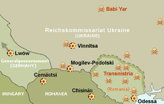 Map of the Holocaust in Ukraine and Romania. Massacres marked with red skulls.