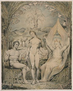 "The Archangel Raphael with Adam and Eve (Illustration to Milton's ""Paradise Lost""), William Blake (1808)"