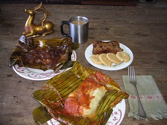Black and red tamales in Guatemala