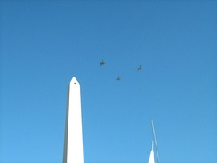 Overflying the Obelisk of Buenos Aires during the Argentina Bicentennial