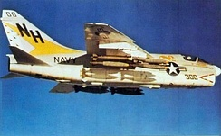 A VA-192 A-7E over Vietnam. This aircraft was lost on 2 November 1972.