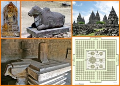 An image collage of 1st millennium CE Shaivism icons and temples from Southeast Asia (top left): Shiva in yoga pose, Nandi, Prambanan temple, Yoni-Linga and Hindu temple layout.