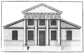 A villa with a superimposed portico, from Book IV of Palladio's I quattro libri dell'architettura, in an English translation published in London, 1736.
