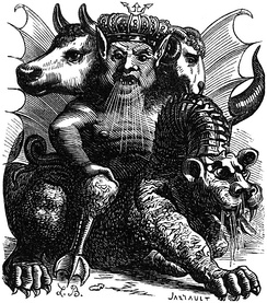 Asmodeus as depicted in Collin de Plancy's Dictionnaire Infernal.