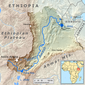 Modern Awash River, Ethiopia, descendant of the Palaeo-Awash, source of the sediments in which the oldest Stone Age tools have been found