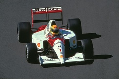 Ayrton Senna during the race in Spa-Francorchamps on 25 August 1991