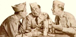 A cigarette ad from 1957. Shown are Pvt Doberman (Maurice Gosfield, center) and Cpl Henshaw (Allan Melvin, right)