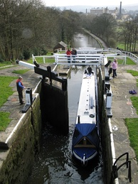 The locks from above with the Damart Mill in the distance.