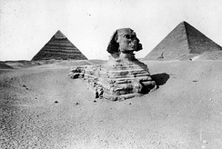 Great Sphinx before clearance, Brooklyn Museum Archives