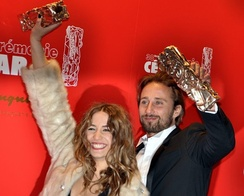 Izïa Higelin (left) and Matthias Schoenaerts, César Award for Most Promising Actress and Actor.