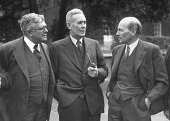 H V Evatt (left) and Ben Chifley (middle) with Clement Attlee (right) at the Dominion and British Leaders Conference, London, 1946