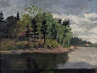 From Sandviken, c. 1882, 	oil on cardboard, 20 x 25 cm, Flaten Art Museum