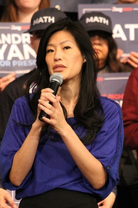 Yang's wife, Evelyn Yang, speaking at an event during his presidential campaign
