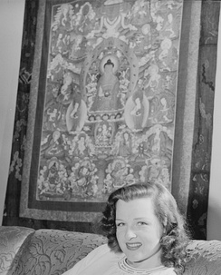 Jo Stafford with Tibetan buddhist thangka art from Tibet in 1946 New York City