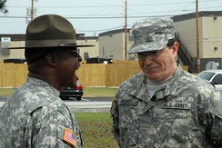 Drill sergeant SFC Chantz correcting PVT Colbert at Fort Jackson